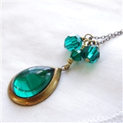 VERSAILLES EMERALD Necklace- Vintage Emerald Green Glass Pendant, Swarovski Crystal, Antiqued Brass Chain.