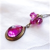 VERSAILLES HOT PINK Necklace- Vintage Fuschia Glass Pendant, Swarovski Crystal, Antiqued Brass Chain.