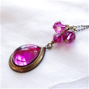 Fuchsia Necklace Pink Swarovski Crystal Vintage Glass Pendant Brass Chain