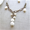 ELEGANT PEARL Necklace- White Freshwater Pearls, Antiqued Brass Chain and White Leather.