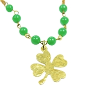 Four Leaf Clover Necklace Gold Shamrock Green Beaded Brass Chain Irish St. Patrick's Day Celtic Jewelry