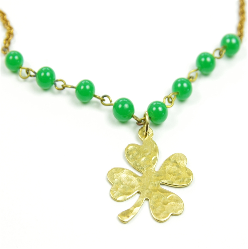 Four Leaf Clover Necklace Gold Shamrock Green Beaded Brass Chain ...