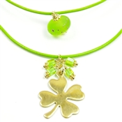 Gold Shamrock Necklace Green Leather Double Strand St. Patrick's Day Irish Four Leaf Clover