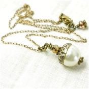 Acorn Necklace Woodland Pendant Ivory Bronze Brass Delicate Chain