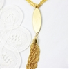 Gold Tassel Necklace Long Chain Brass Bead