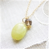 FRESH APPLE Necklace- Smoky Quartz Gemstone, Olive Green Jade Natural Stone, 14kt Gold Filled Chain.