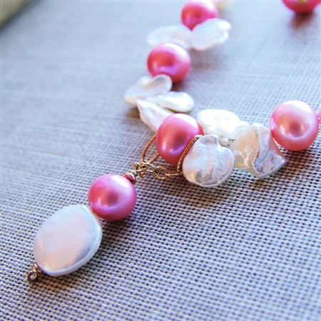 PALISADE Necklace- White Freshwater Coin and Keshi Pearls, Pink Pearl, 14kt Gold Filled Chain.