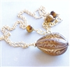 REGENCY Necklace- Brown Gold Etched Vintage Bead Pendant, Tigers Eye Gemstones, 14kt Gold Filled Chain.