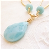 SEA SIDE Necklace- Amazonite Natural Stones, 14kt Gold Filled Hammered Hoops, Beads, Chain.
