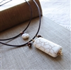 LATTE Necklace, White Turquoise Magnesite Brown Pearl Gold, Artisan Handmade