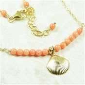 Peach Coral Necklace Sea Shell Pendant 14kt Gold Filled
