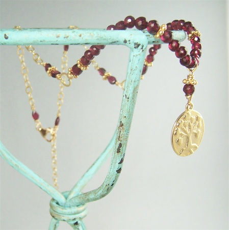 SANGRIA Necklace, Gold Charm Red Garnet January Birthstone, Artisan Handmade