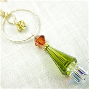 Christmas Tree Necklace Swarovski Crystal Red Green 14kt Gold Filled