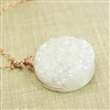 Large Druzy Pendant Necklace Rainbow White Wire Wrapped 14kt Rose Gold Filled