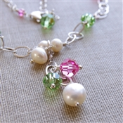 FAIRY PRINCESS Necklace- White Freshwater Pearls, Green and Pink Swarovski Crystal,  Sterling Silver Chain.