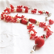 RIO Necklace- Red Coral, White Freshwater Pearls, Bali Sterling Silver.