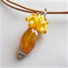 GOLD RUSH Necklace- Gold Chalcedony Gemstone, Lampwork Glass, Amber, Topaz Swarovski Crystal, Bali Sterling Silver, Greek leather.