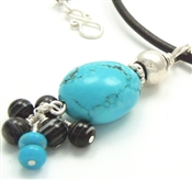 Turquoise Necklace, Black Leather, Sterling Silver, Bali Bead, Black Sardonyx by STONERAY STUDIO
