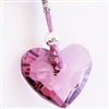 Purple Swarovski Heart Necklace Crystal Pendant Sterling Silver Lavender Leather