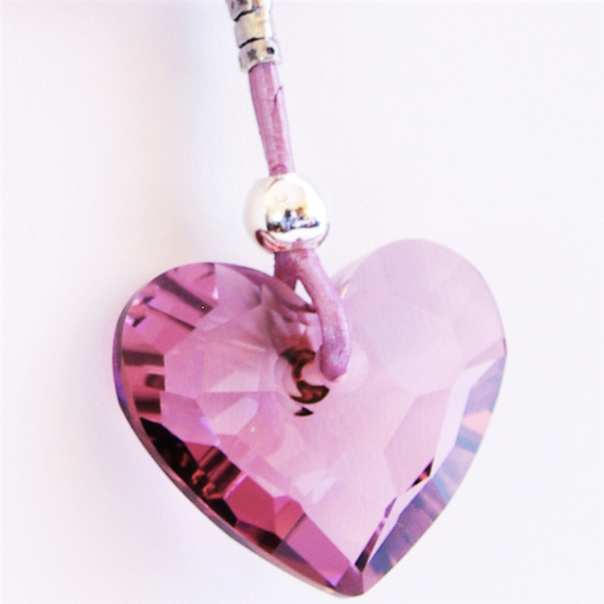 6455e8ab7 EMBRACE Necklace- Purple Swarovski Crystal Heart, Sterling Silver, Leather