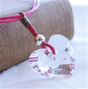 ETERNAL Necklace- Clear Swarovski Crystal Heart, Sterling Silver, Pink Leather