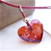 EMBER Necklace- Red Swarovski Crystal Heart, Sterling Silver, Leather