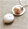 PEACH PEARL Necklace - Sterling Silver, Coin Pearl, Peach Freshwater Pearl