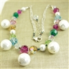Swarovski Crystal Necklace Multicolor White Shell Bead Sterling Silver