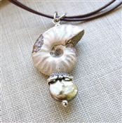 Ammonite Fossil Necklace, Pyrite, Freshwater Pearl, Coin Pearl, Bali Bead, Brown Leather, Sterling Silver