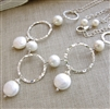 MODERN PEARL Necklace- White Freshwater Coin Pearls and Round Pearls, Sterling Silver Round Hoops and Chain.  Artisan Handmade Necklace.
