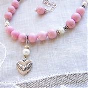 TAKE FLIGHT Necklace- Pink Turquoise Magnesite, Sterling Silver Heart Pendant, White Freshwater Pearls.