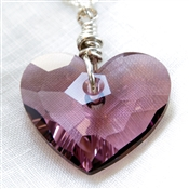 Swarovski Crystal Purple Heart Necklace Sterling Silver