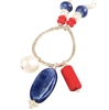 Red White Blue Necklace Sterling Silver Coral Kyanite Gemstone Freshwater Cultured Pearl Patriotic Jewelry