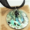 Abalone Necklace Round Rainbow Paua Shell Pendant Sterling Silver Black Onyx Gemstone Silk Jewelry