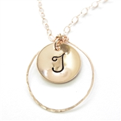 Initial Necklace, Personalized, Letter Pendant, 14kt Rose gold Filled, Monogram Jewelry
