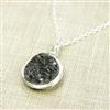 Black Druzy Necklace Drusy Pendant Sterling Silver Raw Natural Stone Wire Wrapped Handcrafted