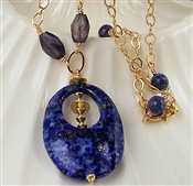 Lapis Lazuli Necklace, Iolite Gemstone, 14kt Gold Filled