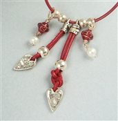 OUTBACK Necklace, Sterling Heart Red Glass White Pearl Leather, Artisan Handmade