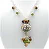 EARTHY Necklace, Lampwork Glass Swarovski Crystal Sterling, Artisan Handmade