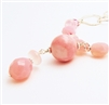 Pink Opal Leather Necklace, Pink Chalcedony, Rose Quartz, Sterling Silver, Silver