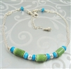 SKYVIEW Necklace, Sleeping Beauty Turquoise Chrysoprase Sterling, Artisan Handmade