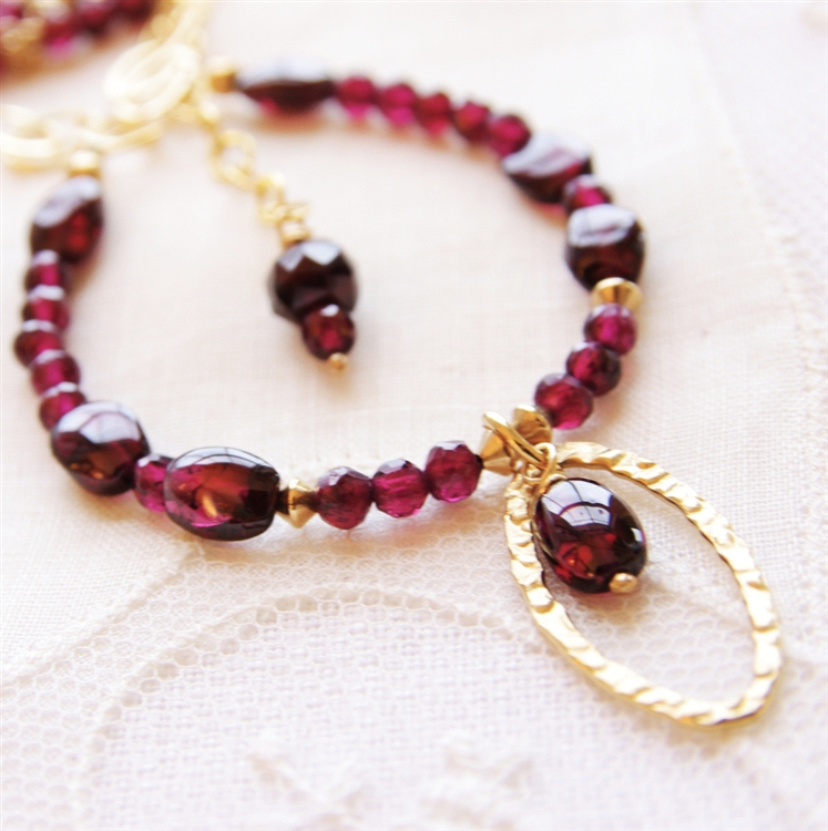 Red garnet beaded necklace 14kt gold filled pendant necklace alternative views mozeypictures Gallery