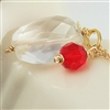 JUBILEE Gold Necklace, Red Swarovski Crystal Gemstone Beaded Pendant, Artisan Handmade