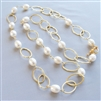 Freshwater Pearl Necklace, White Beaded 14kt Gold Filled Long Chain, Handmade Necklace