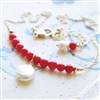 Red Coral Necklace // Coral Pearl Bar Necklace // Gold Jewelry // Red and White Jewelry