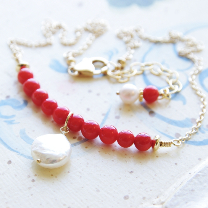 Red Coral Necklace Coral Pearl Bar Necklace Gold Jewelry