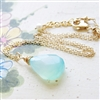 Aqua Chalcedony Necklace // Chalcedony Pendant // Mint Jewelry // Blue Gemstone Necklace // Gold Jewelry // Gold Chain Necklace