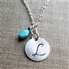 Personalized Necklace, Monogram Jewelry, Mother's Necklace, Silver Initial Charm Pendant with Birthstone, Sleeping Beauty Turquoise, Sterling Silver