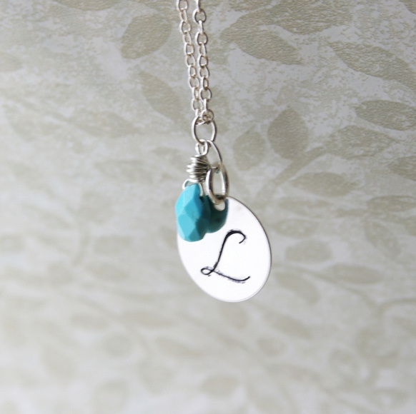 Personalized necklace monogram jewelry mothers necklace silver personalized necklace monogram jewelry mothers necklace silver initial charm pendant with birthstone sleeping beauty turquoise sterling silver aloadofball Images