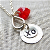 XO Charm Necklace, Swarovski Crystal Red Heart, Sterling Silver